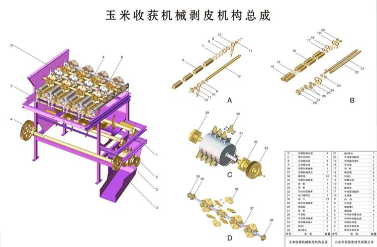 玉米收获机结构挂图
